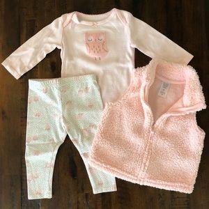 Carter's 9month baby girl 3 piece pink owl set